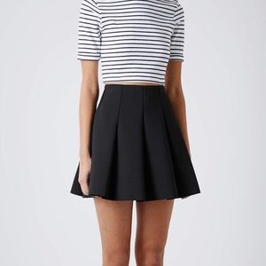 TopShop pleated black mini skater skirt